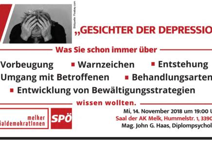 """Unterlagen vom Vortrag """"Gesichter der Depression""""online"""